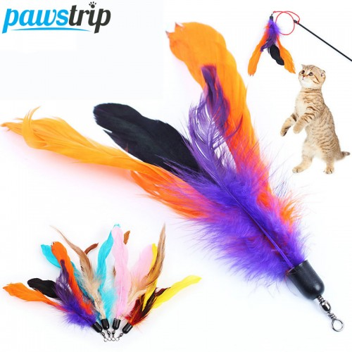 Colorful Toy Feather Replacement For Interactive Cat Wand without stick