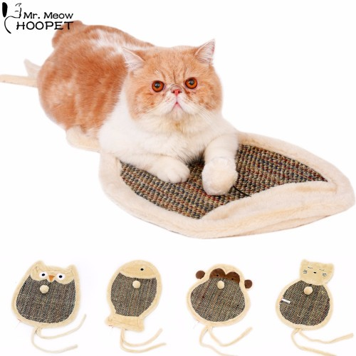 Double Sided Cat Cartoon Scratch Board with Sherpa Ball Toy Kitten Scratcher Mat Pad Interactive Toy