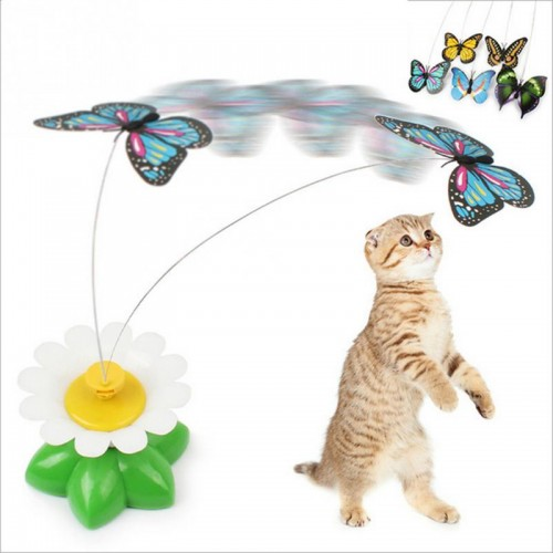 Newest Funny Pet Cats Kitten Play Toy Electric Rotating Butterfly bird