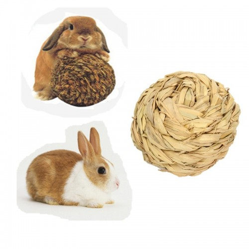 Pet Hamster Rabbit Grass Ball Toy Mice Gerbil Mini Animal Attractive Exercise Natural Funny Play Molar