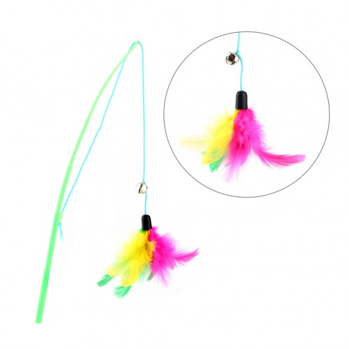 Pet cat toy Cute Design bird Feather Teaser Wand Plastic Toy for cats Color Multi Products