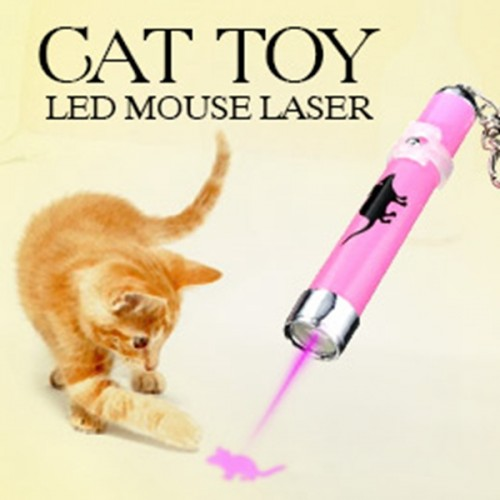 Portable Creative and Funny Pet Cat Toys LED Laser Pointer light Pen With Bright Animation Mouse