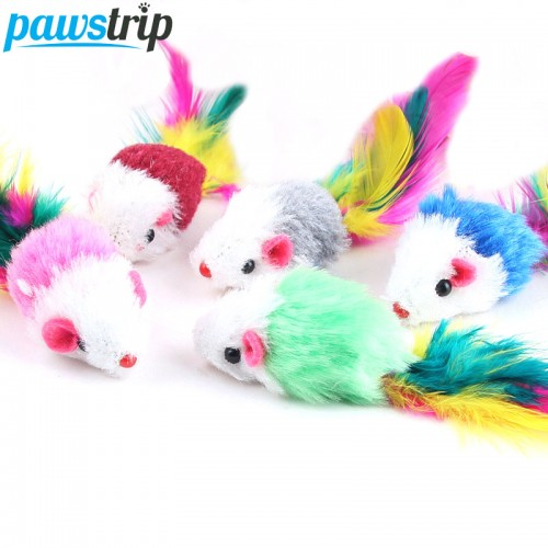 Soft Fleece False Mouse Cat Toys Colorful Feather Funny Playing Toys For Cats Kitten