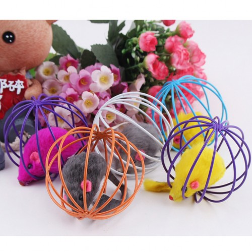 Toys False Mounse in Rat Cage Ball for Pet Cat Kitten Playing Cage Ball