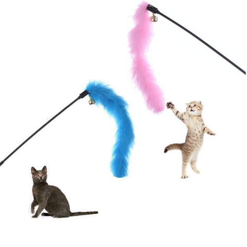 Turkey Feather Wand Stick For Cat Catcher Teaser Toy For Pet Kitten Jumping