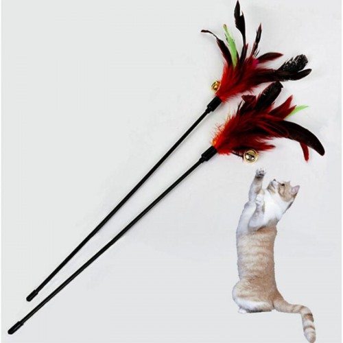 Ultra long Rod Pets Toy Fashion Cat Play Feather Teaser Small Bell Type Cat Toy