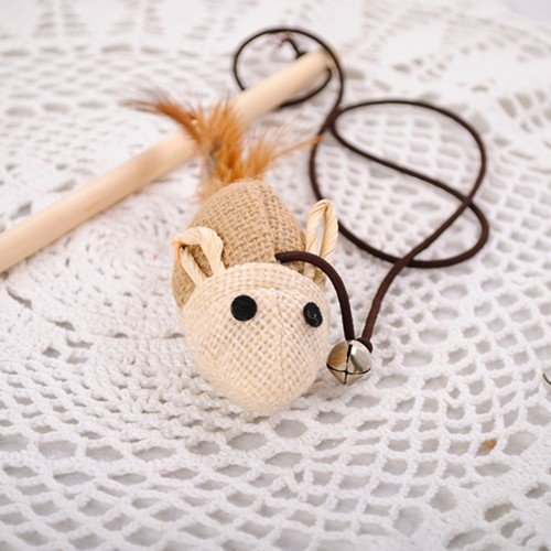 Wooden Pole Hemp Mice Mouse Tease Cats Rods Plaything Environmental Fashion Wood Pet Toys