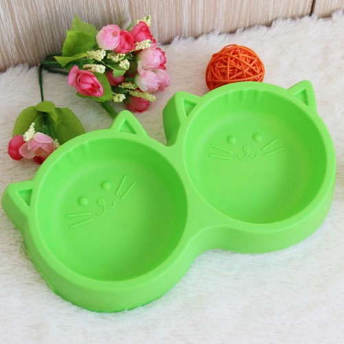 Pet Products Plastic Cat Face Pet Bowl Environmental Protection Non toxic Food Double Bowl Tableware