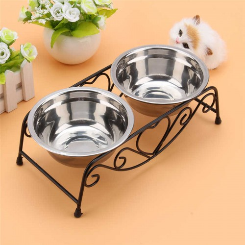 Double Stainless Steel Bowls Dog Pet Food Water Feeder Dish With Retro Iron Stand
