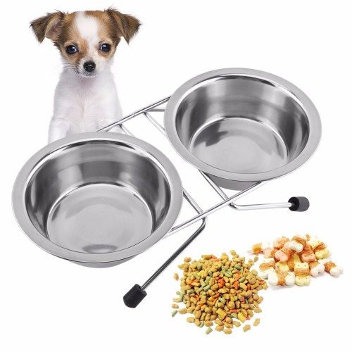 Double Stainless Steel Pet Dog Bowls With Stand Feeder Travel Feeding Feeder Anti Slip Food