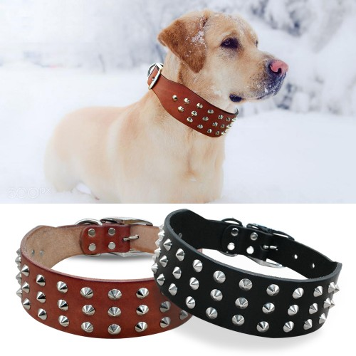Cool Rivets Studded Best Genuine Leather Pet Dog Collars For Small Medium Large Dogs Black Brown