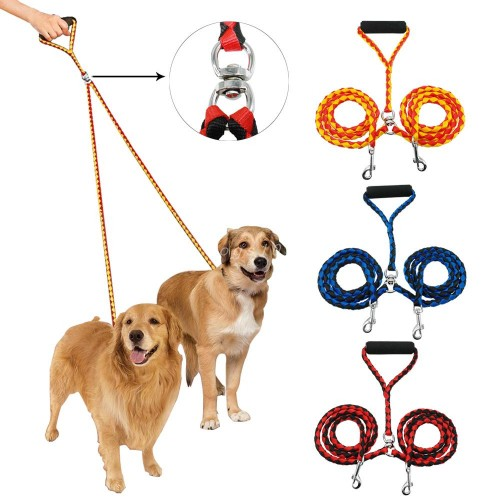 Double Dog Leash for Two Dogs Braided Tangle Dual Leash Coupler For Walking