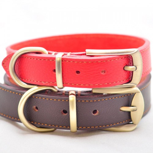 New Genuine Leather Dog Collar Concise and Vogue Adjustable Pet Collar Dog Necklace for Small Medium