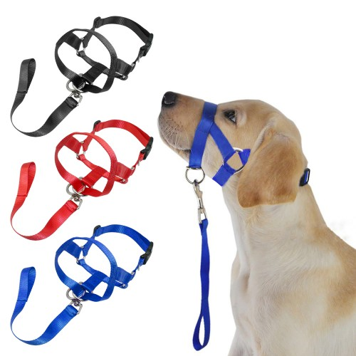 Pet Dog Nylon Halter Training Nose Reigns Head Collar for Dogs Helps Stop Pulling Kindly Black