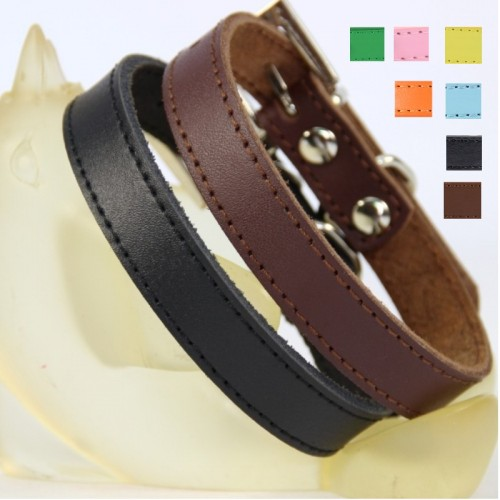 Pure Leather Pet Dog collar Brown Black Puppy small Large Big dog