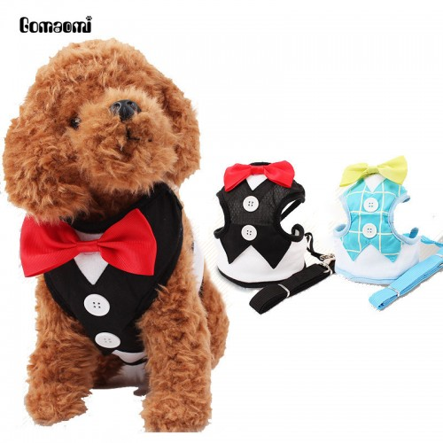 Red Bowtie Tuxedo Dog Harness With Leash