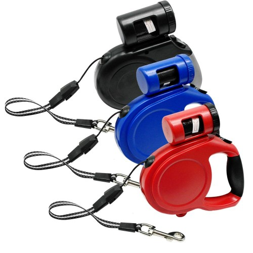 Retractable Dog Leash Automatic Extending Pet Walking Leads With Waste Poop Bag