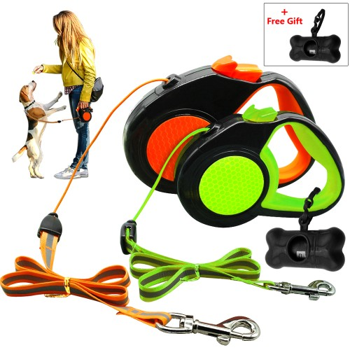 Retractable Dog Leash Automatic Extending Walking Lead Reflective With Dog Dispenser