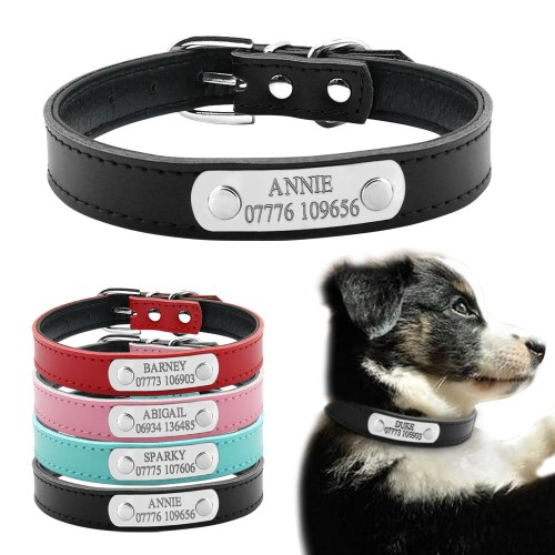 Soft Leather Personalized Laser Dog Collars Free Engraving Metal Buckle Custom Cat Puppy Pet Name Phone