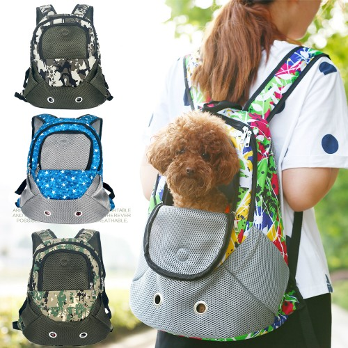 Pet Carrier Shoulders Back Front Pack Dog Travel Bag Mesh Backpack Head out Design