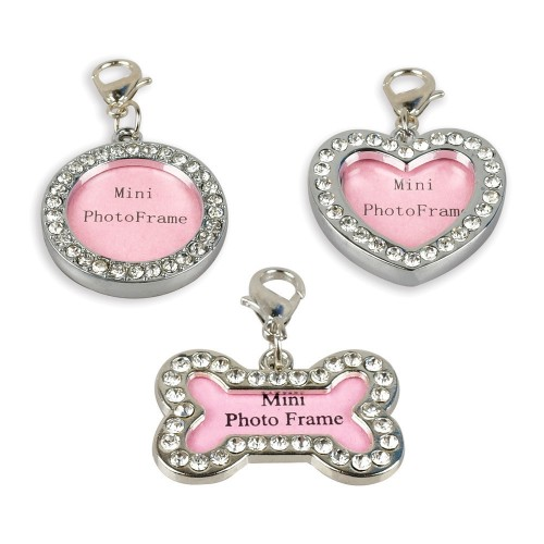 Pet ID Tags Dog Name Information Card Personalized Photo Frame Puppy Rhinestone Bone