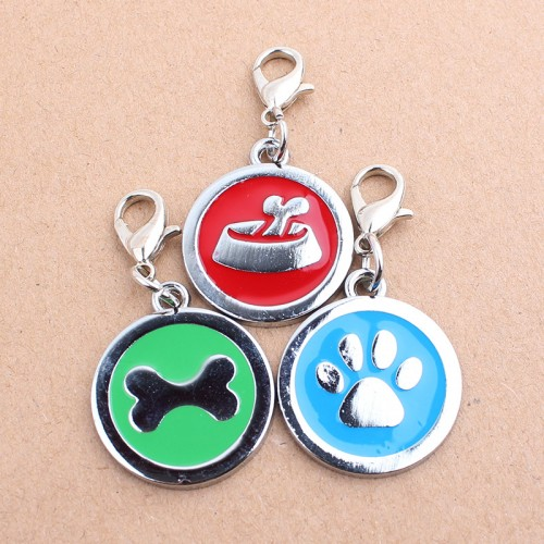 Popular Round Bone Puppy Rhinestone Pendant Pet Jewelry Bone Footprints Dog Food Round