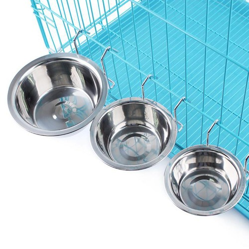 Hanging Stainless Steel Dog Cage Bowl Removable Pet Drink Food Dish