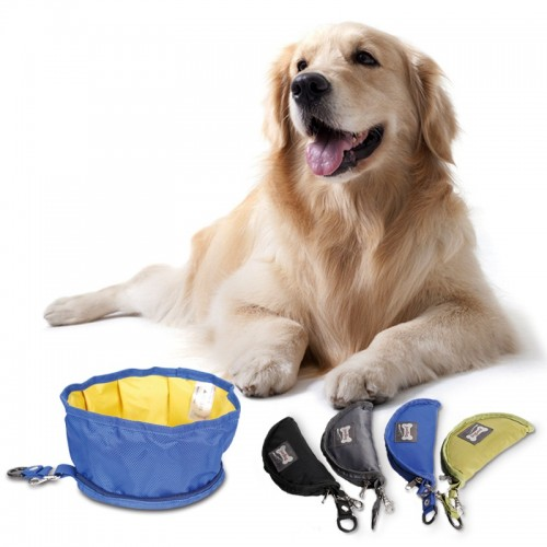 Outdoor Travel Portable Puppy Big Dog Food Container Feeder Dish Collapsible Foldable Silicone Dog Bowl Candy