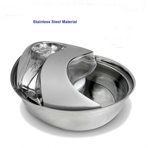 Pet Fountain Drinking Bowl Raindrop Dog Water Feeder Stainless Steel Durable 1800ml