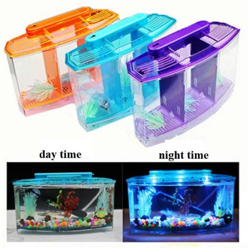 Aquarium Acrylic Three Splits Betta Fish Tank Triple Bow LED Light Fighting isolation hatch breed box