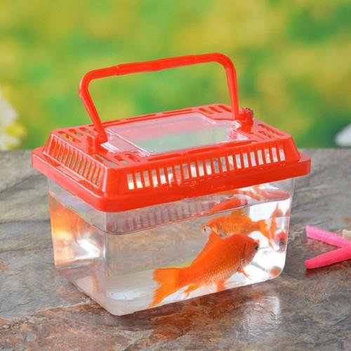 Aquarium Mini Fish Tank Goldfish bowl turtle Aquatic pet Reptile Tortoise cage feed box office Decor
