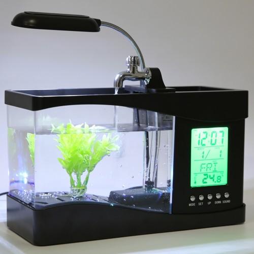 Popular USB Desktop Mini Fish Tank Aquarium LCD Timer Clock LED Lamp Light BlackBrand