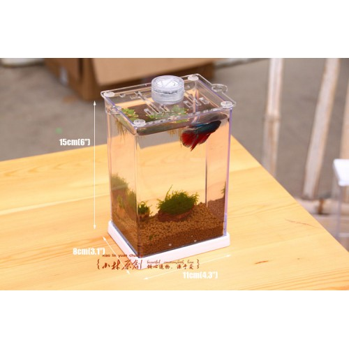 Small fish tank tropical betta fish mini nano arcylic tank for Betta fish tank light