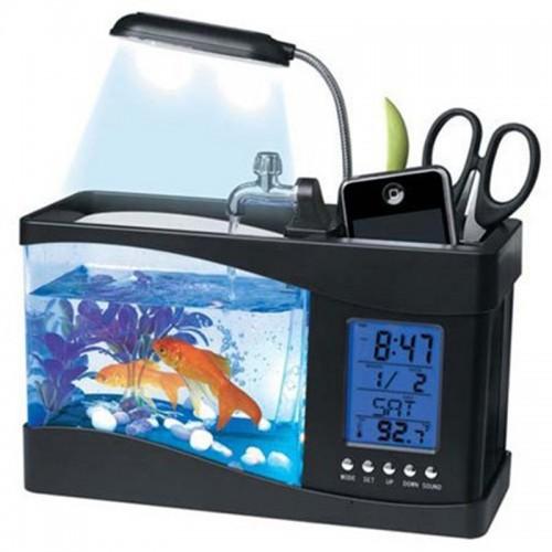 USB Desktop Electronic Aquarium Mini Fish Tank with Water Running LED Pump Light Calendar Alarm