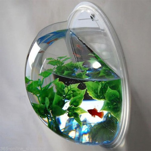 Wall Mounted Hanging Acrylic Mini Fish Tank Aquarium Multifunction Fish Bowls Wall Sticker Plant Vase