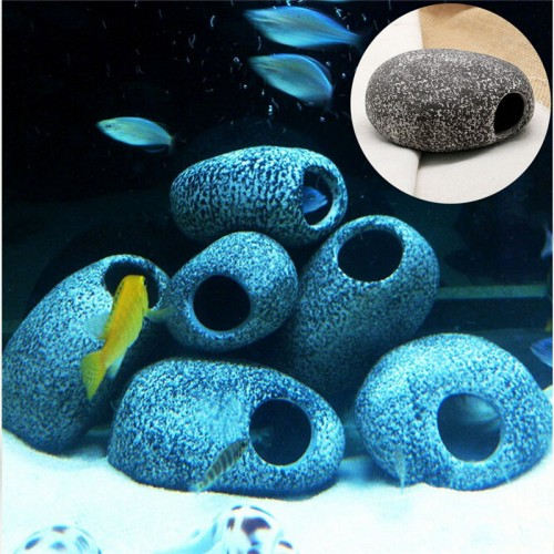 Ceramic Rock Cave Ornament Stones Cichlid For Fish Tank Filtration Aquarium