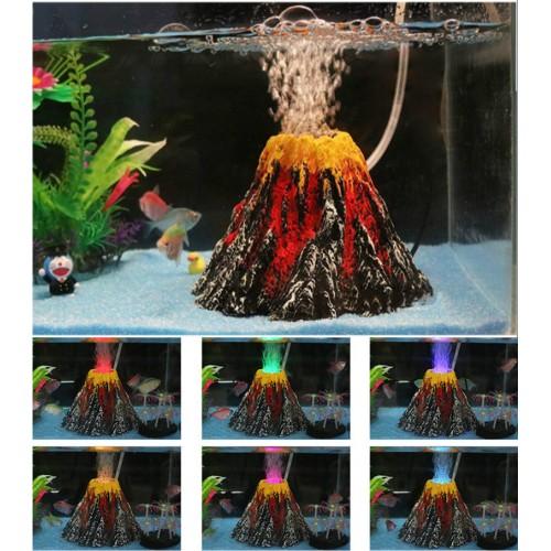 Aquarium Volcano Decoration Stone Fish Tank Volcano Eruption Ornament Aquarium Decor