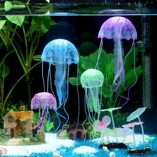 Box Fluorescence Jellyfish Glowing Effect Fish Tank Aquarium Coral Decoration Ornaments Backguounds