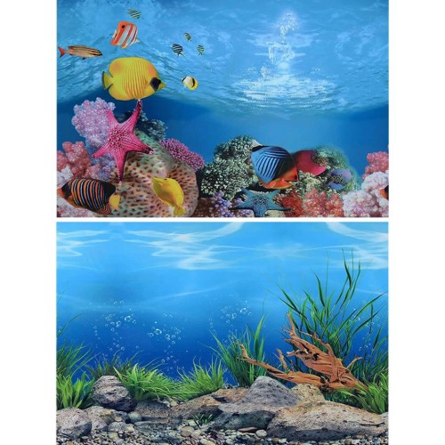 Double Sided Aquarium Background Poster Fish Tank Ocean Decorative Wall Background Picture