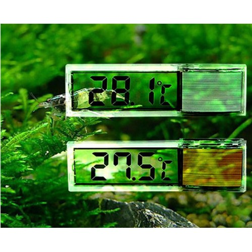 Plastic Metal 3D Digital Electronic Aquarium Thermometer Fish Tank Temp Meter Gold Silver 7 x 2x