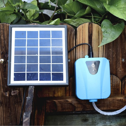 Solar Powered Charging Oxygenator Water Oxygen Pump Pond Aerator Air Stone Aquarium Airpump