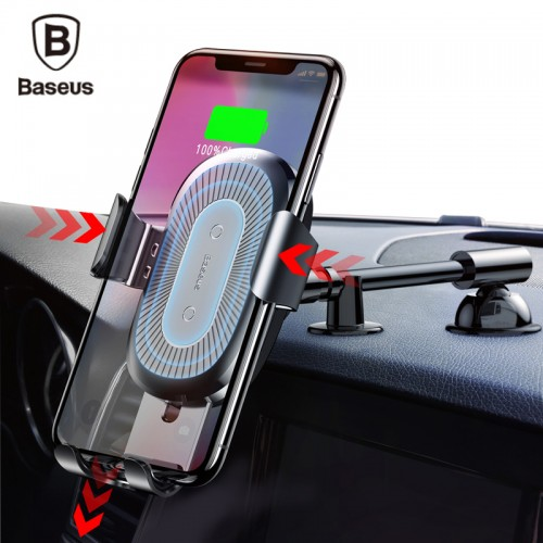 Baseus Car Holder Qi Wireless Charger For iPhone X 8 Plus Quick Charge Fast Charging Pad