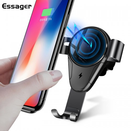 Essager 10W Car Mount Qi Wireless Charger For iPhone X 8 Fast Wireless Charging Car Phone
