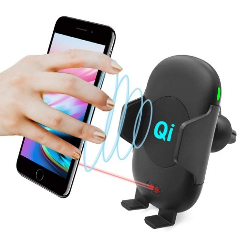 Infrared QI Wireless Charger Stand Air Vent Car Mount 10W Fast Charging Cell Phone Holder