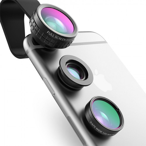 AUKEY Fish eye Lens 3in 1 Clip on Cell Phone Camera 180 Degree Fisheye Lens Wide