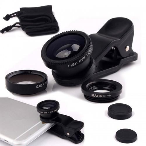 Fisheye Lens 3 in 1 mobile phone clip lenses fish eye wide angle macro camera lens