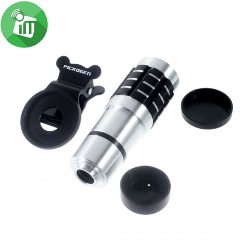 4-in-1 12X Universal Clamp Camera Lens Fish Eye Lens Wide Angle Macro Telephoto Lens