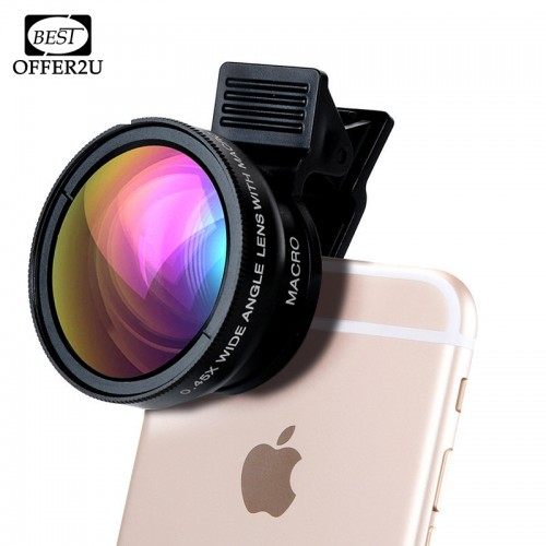 Professional HD Phone Camera Lenses 0 45X Wide Angle 12 5X Macro Lens With Clips 2in1