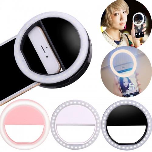 Selfie LED Flash Light Up Universal Mobile Phone Selfie Luminous Ring Clip For For iPhone 8