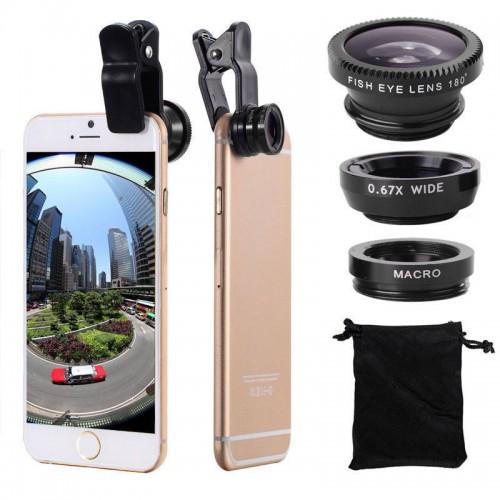 Universal Fish Eye 3in1 Clip Fisheye Smartphone Camera Lens Wide Angle Macro Mobile Phone Lents For